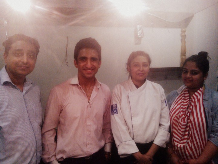 From the left, Chef Sumit, COO- Mr. Arjun Datta, Chef Indrani Pal and me