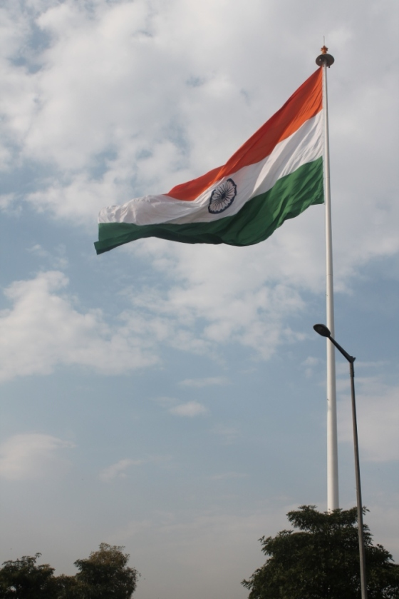 On our way back at Connaught Place, New Delhi, may the flag of our country keep flying high!