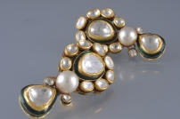 DIAMOND POLKI EARINGS WITH SOUTH SEA PEARL