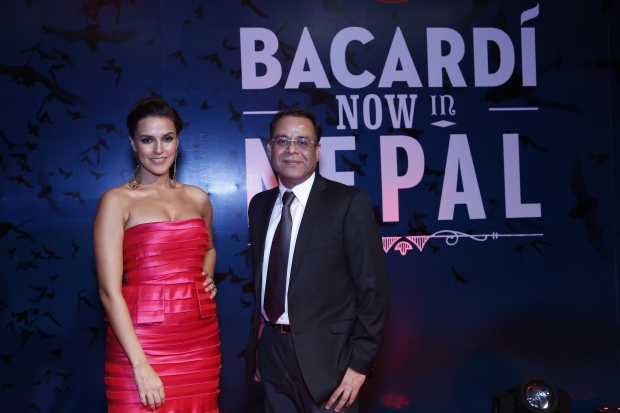 Neha_Dhupia_&_Manish_Seth,_Director,_Sales_Marketing_of_BACARDI_India_at_Bacardi_Launch_in_Nepal