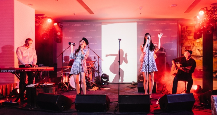 French Bossa Nova Band Nouvelle Vague performing at the launch of Le Mer...-2