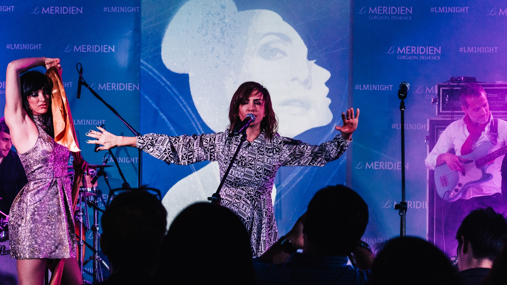French Bossa Nova Band Nouvelle Vague performing at the launch of Le Mer...
